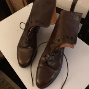 Joan and David lace up leather brown boots